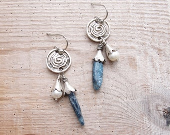 Kyanite and Pearl Earrings Rustic Gemstone Jewelry Sea Travels