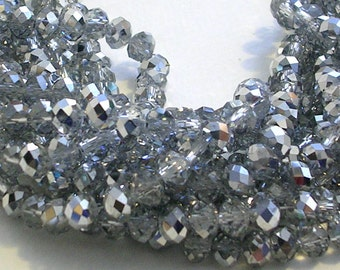 "Glass Beads SALE (GB138)16"" Strand about 100 Beads 6mm Metallic Silver Glass Rondelle Beads for Jewelry Making Crafts"