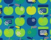 DESTASH - One Yard - Yuwa - Apples, Blossom and Jam on Blue - Confiture de Pomme - Golden, Green, Blue Apple- Japanese Imported Fabric