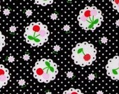 HALF YARD Cosmo Textile - Cherries and Flowers on Black Polka Dot - fluorescent hot pink cherries - Cotton Oxford - Japanese Importo