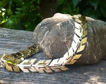 Vintage Gold Chevron Arrow Necklace Choker by Lisner epsteam Sale