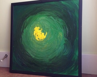 Untitled - Green Abstract Painting - Framed - Original Abstract Artwork