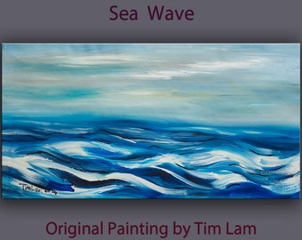 Original painting abstract sea Wave large art landscape painting on gallery wrap canvas Ready to hang by tim Lam 48x24