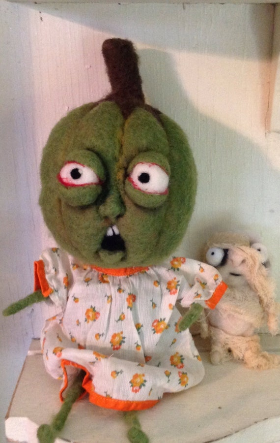 Immature pumpkin large doll ooak needle felted doll
