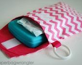 SALE Pink Chevron - Diaper and Wipes Stroller Organizer - Link Loop Diaper Bag
