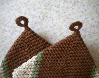 Mahogany Brown  Crocheted Cotton Two Layer  Potholders