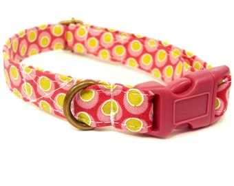 Pink Lemonade - Organic Cotton CAT Collar Breakaway Safety Crowns - All Antique Brass Hardware
