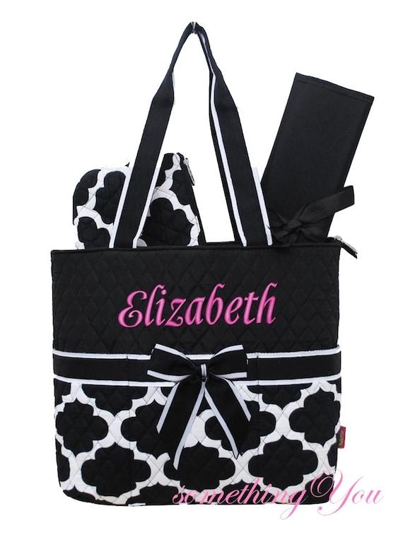 personalized name quatrefoil diaper bag by somethingyougifts. Black Bedroom Furniture Sets. Home Design Ideas