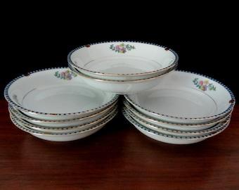 Berry Bowls, Fruit Bowls, Dessert Dishes By Noritake Sheridan. Set of Ten