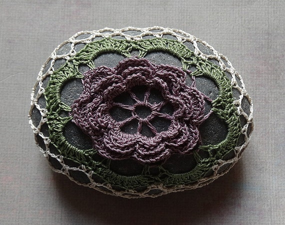 Art, Crochet Lace Stone, Original, Handmade, Table Decorations, Home Decor, Art Object, Folk Art, Purple Flower