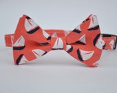 Sailboat Bow Tie Boy's Bowtie in Coral and Navy Blue