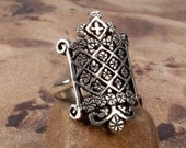OGOUN RING - STERLING 925 Silver Voodoo Vodou Veve - Made To Order in Your Size