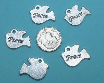8 Peace Dove Charms Tibetan silver tone birds (S116)
