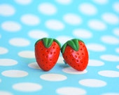 Strawberry Post Earrings. Fruit Earrings.