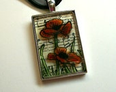 Fused Glass Penant  Red Poppies
