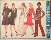 1970's Shirtwaist Dress, Tunic and Pants Pattern  Vintage Vogue 2749 Pattern