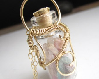 Bottle Gems Necklace - 14k Gold Fill Wrapped glass bottle with tourmaline, aquamarine, and kunzite