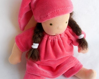 berry pink pajamas Waldorf doll for 10 - 12 inch Steiner dolls Waldorf doll baby doll clothes Waldorf toy for girls