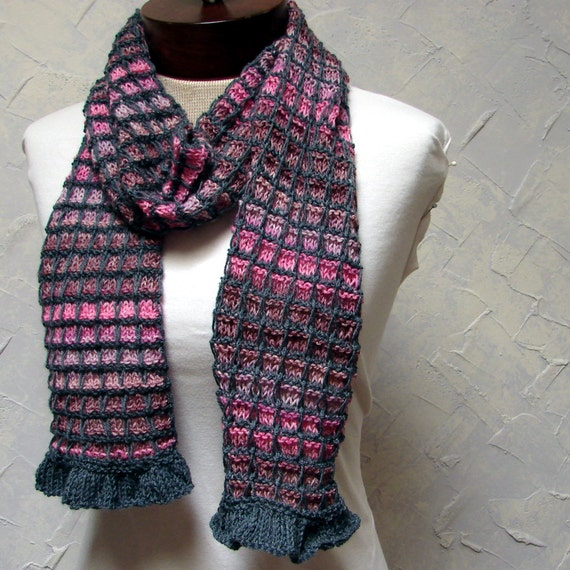 Pattern for Plaid Scarf with Ruffle Edging Hand knit Scarf