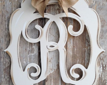 Monogram, Door Decor, Vintage Modern, Distressed, Burlap, Trendy, Monogram Door Decor, Letter, Initial, Hand Painted