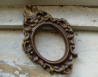 Vintage Chocloate Ornate Oval Plaster Type Frame with Gold Accents