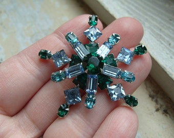 FREE SHIPPING Vintage Rhinestone Brooch with Green and Blue Rhinestones