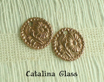 Copper Earring Pair of PMC Copperclay by Catalina GLass