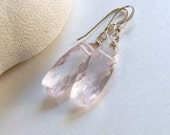 Natural Rose Quartz Earrings, Valentine Pink Minimalist Earrings, Blush Pink Gemstone Earrings Frosty Pink Earrings, Pastel Earrings, Neve