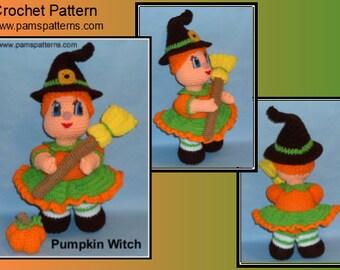Crochet Pumpkin Witch Doll, Crochet Witch Pattern, Crochet Doll Pattern, crochet halloween patterns