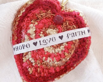 Heart Shaped Silk Plush - Message of Hope Love Faith - Unique Handmade Gift for Wife Husband Girlfriend Boyfriend - Great for Proposal too !