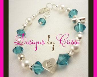 cross bracelet baptism christening communion jewelry gift girls baby pearl religious silver crystal custom personalized wedding flower girl