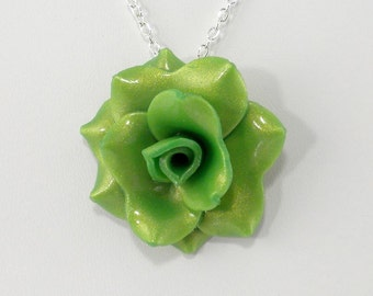 Green Pearl Rose Pendant Necklace - Simple Rose Necklace - Handmade Wedding, Bridesmaid Jewelry - Polymer Clay Rose - #267 Ready to Ship