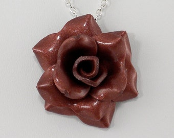 Bronze Rose Pendant - Simple Rose Necklace - Bronze Rose Necklace - Handmade Wedding Jewelry - Polymer Clay Rose Pendant - #325 Ready toShip