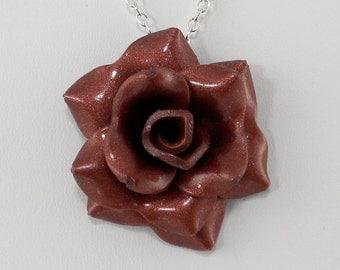 Bronze Rose Pendant - Simple Rose Necklace - Bronze Rose Necklace  - Handmade Wedding Jewelry - Polymer Clay Rose Pendant - #325