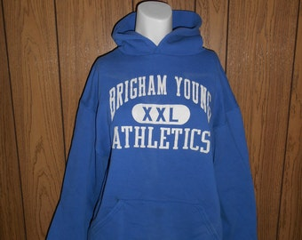 80's 90's  Vintage Sweat shirt hoody BRIGHAM YOUNG Athletics University college