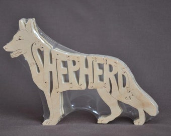 German Shepherd Dog Animal Puzzle Wooden Toy Hand  Cut with Scroll Saw