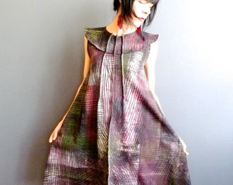City Rain - iheartfink Handmade Hand Painted Hand Printed Womens Wearable Art Sleeveless Trapeze Jersey Dress