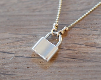 Padlock Necklace on Gold Chain