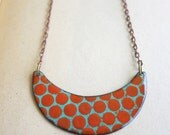 Aqua and Red Enamel Necklace- Reversible
