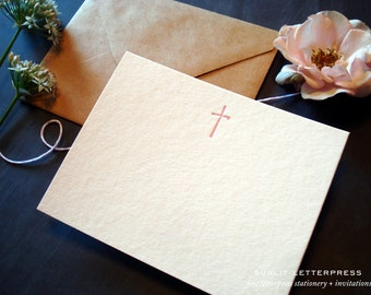 Christian Card, Christian Note Cards, Christian Cross, Christian Gift, Cross Symbol, Letterpress Cards (Set of 4 Cards with Envelopes) Pink
