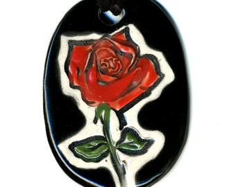 Red Rose Ceramic Necklace in Black