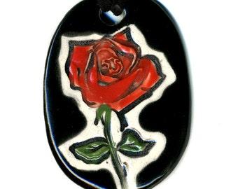 Red Rose Ceramic Necklace in Black