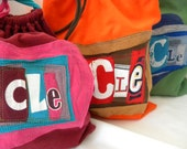 Little Bag of Possibilities Three Letters Initials Small Word Pouch upcycled t shirt material Custom Choose COLORS