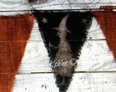 Halloween Banner, Witch Banner, Halloween Pennant, Halloween Bunting, Primitive, Black, Orange Burlap Sisal Goth Long