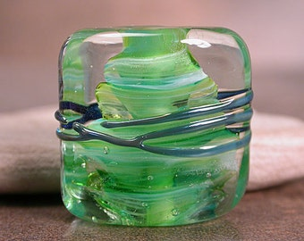 Lampwork Glass Focal Bead Square Nugget Spring Greens Crystal Clear Divine Spark Designs SRA LeTeam