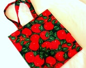 Grocery Bag Reusable Washable Red Apple Print