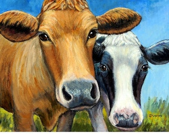 "Cows Farm Animal Art Print Painting by Dottie Dracos ""Two Curious Cows,"" Holstein and Jersey cows, Cow art, cow painting, farm art"