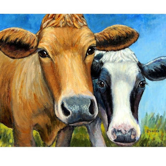 """Cows Farm Animal Art Print Painting by Dottie Dracos """"Two Curious Cows,"""" Holstein and Jersey cows, Cow art, cow painting, farm art"""