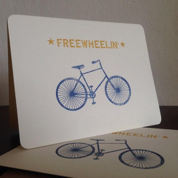 Freewheelin Bike - 6-Pack Screen-Printed Greeting Cards