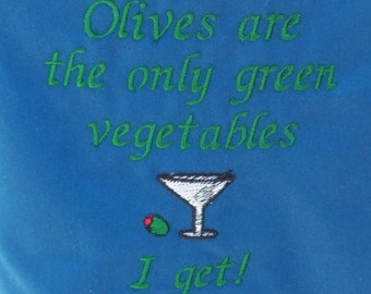 """APRON Olives green vegetables Embroidery Bbq Barbeque 34"""" Ready to Ship"""